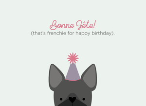 Halifax Paper Hearts Card - Bonne Fete (frenchie for happy birthday)