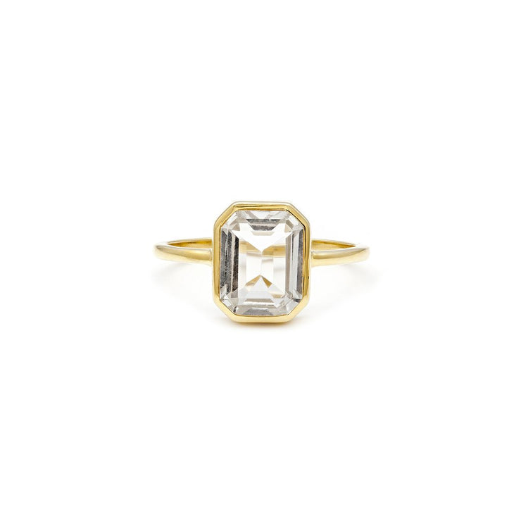 Leah Alexandra - Ring Emerald Cut White Topaz + Gold