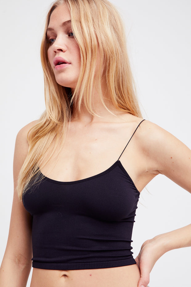 Free People Skinny Strap Seamless Brami Black