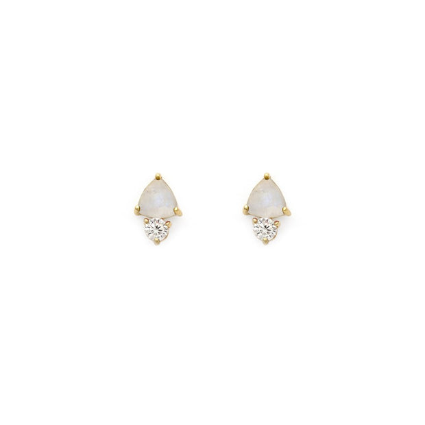 Leah Alexandra - Earrings Duo Studs Moonstone + Gold