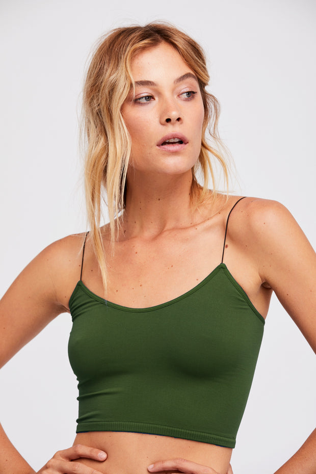 Free People Skinny Strap Seamless Brami Deep Army