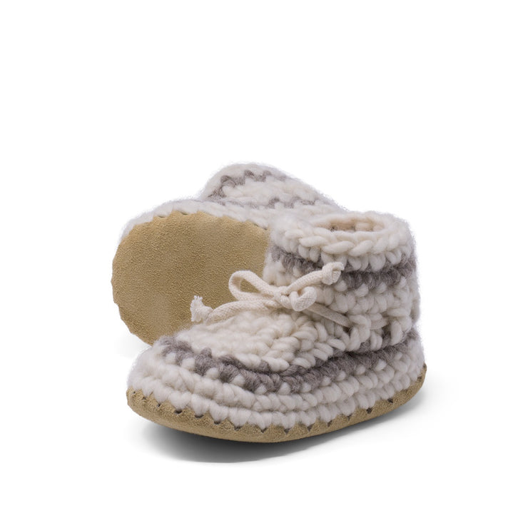 Padraig Cottage - Child Size 11 Slippers Cream Stripe