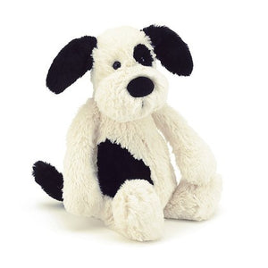 JellyCat Bashful Black and Cream Puppy - Medium 12""