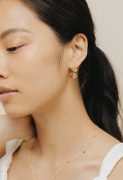 Lover's Tempo - Crescent Moon Hoop Earrings Gold