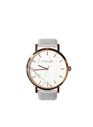 PiperWest - Marble Minimalist 42mm in Rose Gold and Grey