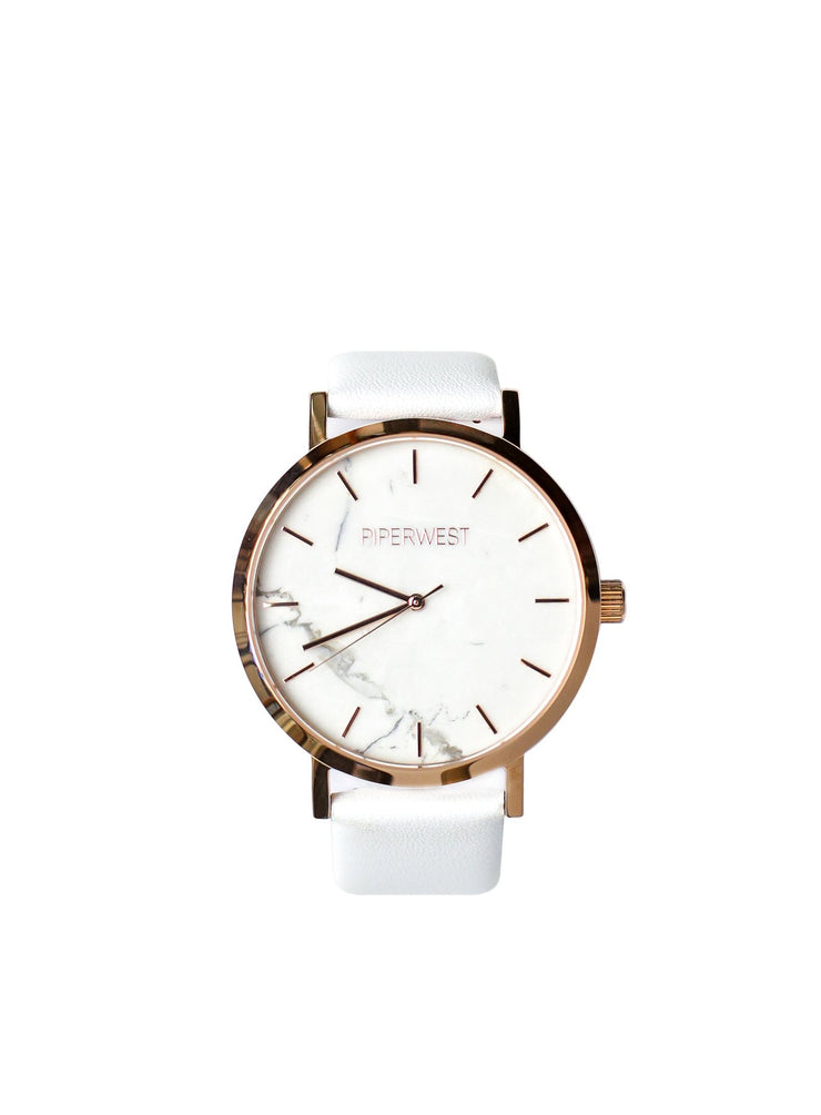 PiperWest - Marble Minimalist 42mm in Rose Gold and White