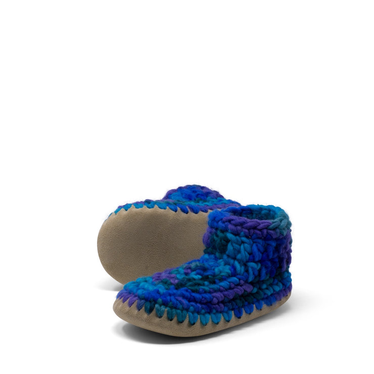 Padraig Cottage - Youth Size 1 Slippers Blue Multi