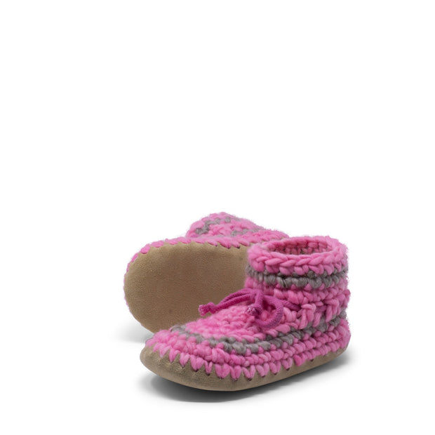 Padraig Cottage - Youth Size 1 Slippers Pink Stripe