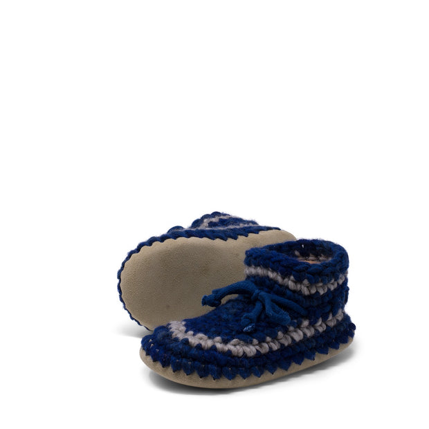 Padraig Cottage - Youth Size 1 Slippers Denim Stripe