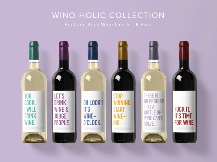 Classy Cards - Wine Labels 6 Pack Wino-holic