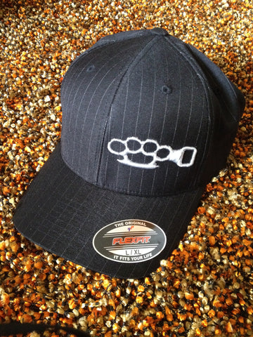 Black Pin Stripe Hat w/ Silver Logo