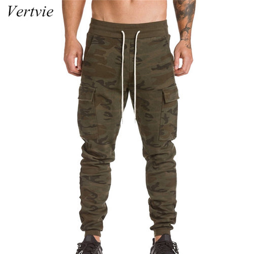 vertvie 2018 Men Running Pants Big Pocket Hip Hop Harem Pant Sweatpants Gym Fitness Mens Joggers Athleisure Men's Trouser Cotton
