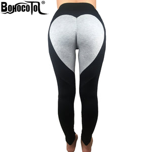BOHOCOTOL Fashion Heart Pattern  Splice Leggings Athleisure Fitness Clothing Elastic Leggings Women Pants