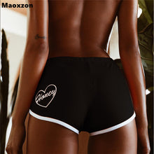 Load image into Gallery viewer, Maoxzon Womens Sexy Slim Fitness Shorts For Female Orange Fashion Summer Letter Embroidery Jogger Gymnasium Active Skinny Shorts