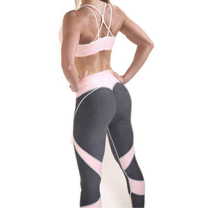 Athleisure Heart Push Up Leggings Women Fashion Pink Patchwork Jeggings Workout Sporting Slim Sexy Leggings