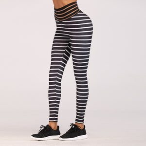 High Quality Women Fashion 2018 Rainbow Striped Fitness Apparel Women Workout Leggings Jeggings Athleisure Fitness clothing Hips