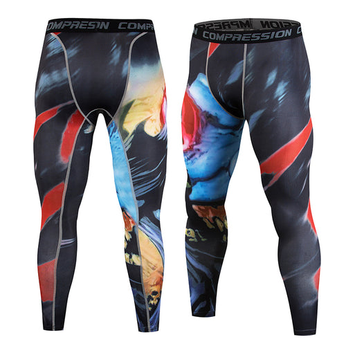 New Fitness Men Running Tights Print Bodybuilding Crossfit Sports Leggings Athleisure Sportswear Elastic Cycling Tights Pants