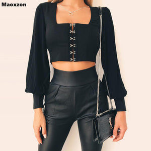 Maoxzon Womens Sexy Backless Bandage Short Chiffon Blouses Shirts For Female Summer Black Fashion Long Sleeve Lace-up Crop Tops
