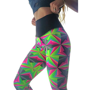 2018 Printing geometric hip push up pants fitness fashion women high waist sweatpants athleisure elastic pencil pants