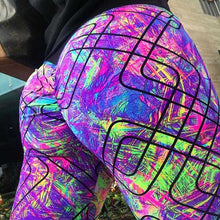 Load image into Gallery viewer, 2018 Printing geometric hip push up pants fitness fashion women high waist sweatpants athleisure elastic pencil pants