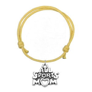 Skyrim 10pcs/lot HOT/NEW ATHLEISURE Style Fashion Wax Cord Adjustable Bracelets With ALL Sports Mom Alphabets Charm Eight Colors