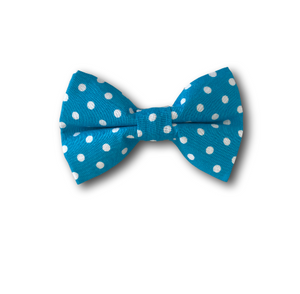 Blue and white polka dot dog bow
