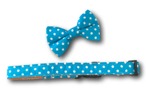 Blue and white polka dot dog bow and collar