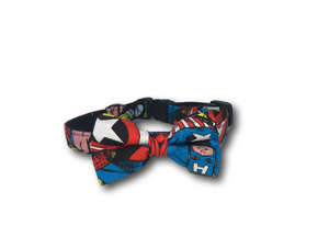 The Avengers dog collar and bow