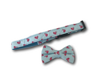 Load image into Gallery viewer, Flamingo design dog bow and collar