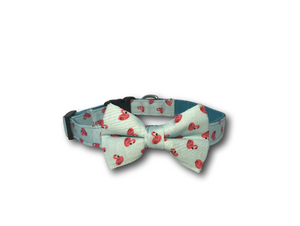 Flamingo design dog bow and collar