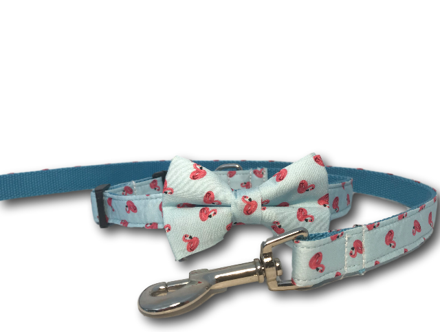 Flamingo design dog bow, collar and leash