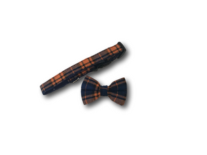 Tartan design dog bow and collar