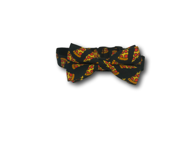 Pizza design dog bow and collar