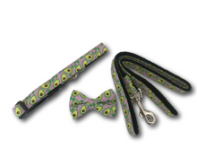 Load image into Gallery viewer, Avocado design dog bow, collar and leash