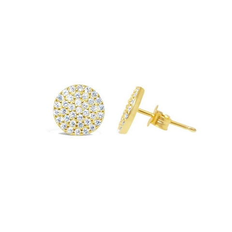"""Pretty Party"" Earring Pavé Disk Stud"