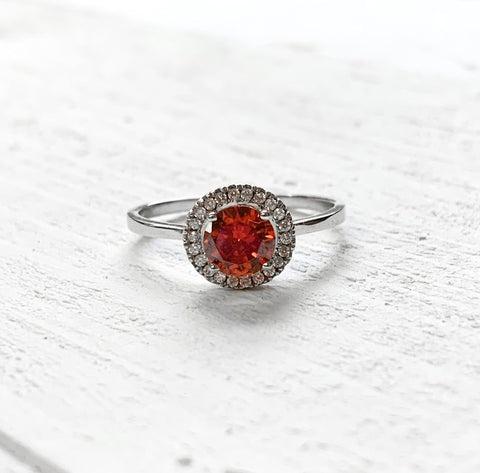 Sterling Silver Halo July Ring