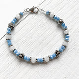 Sterling Silver March Bead Bracelet