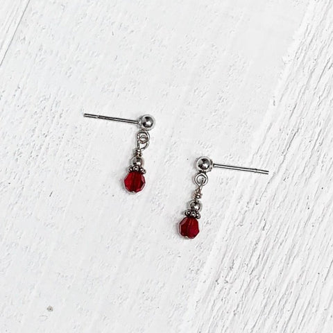 Sterling Silver July Crystal Earring