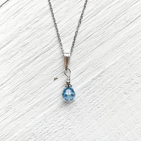 Sterling Silver March Necklace