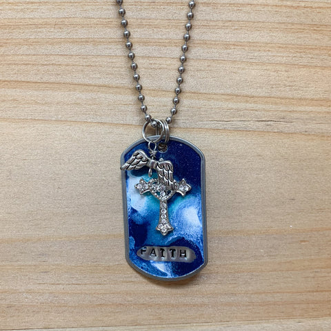 Handpainted Cross Faith Dog Tag Necklace