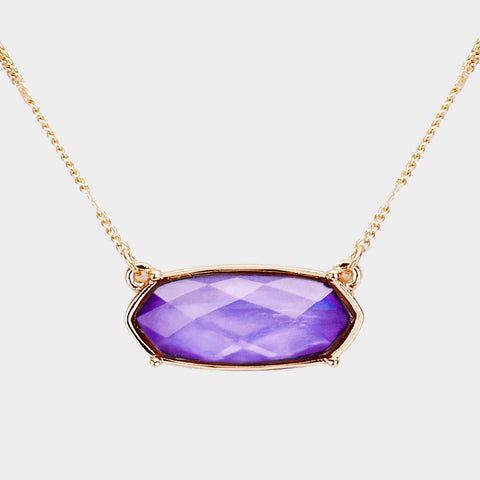 Crystal Hexagon Pendant Metal Chain Necklace - Purple