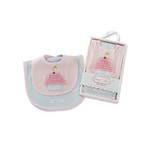 Baby Cakes Bib and Burp Set, Pink/Teal, 0-6 Months