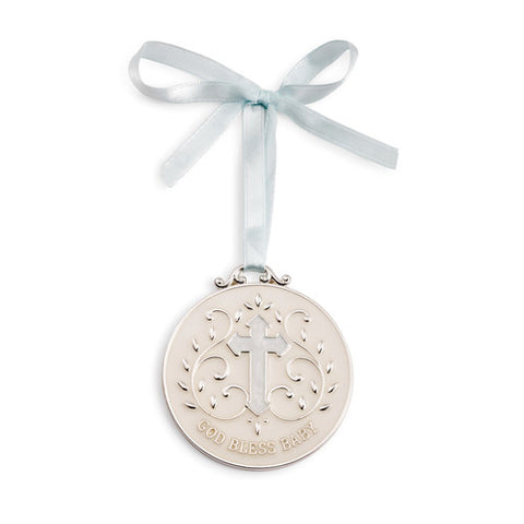 Blue God Bless Baby Keepsake Medallion