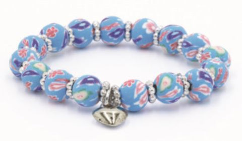 Kids Clay Bead Bracelet - Blue Floral