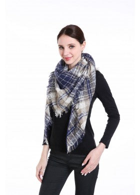 Blue Triangle Plaid Scarf