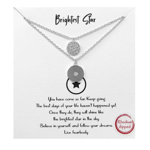 Tell Your Story: CZ Pave Disc Pendant Double Simple Chain Short Necklace