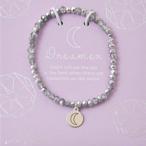 Dreamer Silver Crystal Stretch Bracelet