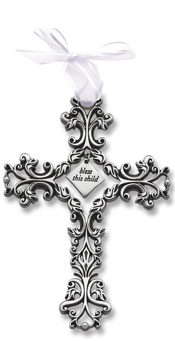 White Bless This Child Filigree Cross