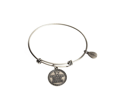 Fur-Ever In My Heart Pet Memorial Bangle Charm Bracelet
