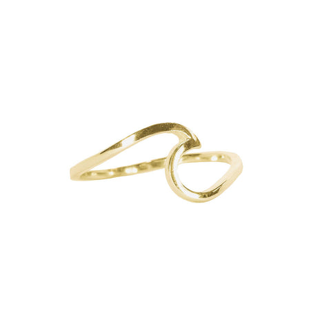 Sterling Silver Gold Plated Wave Ring